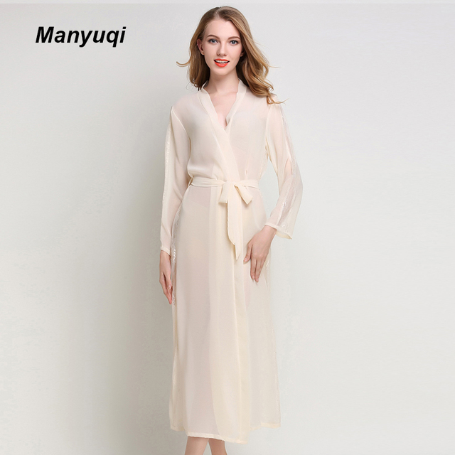 Summer chiffon women\'s lace robe transparent thin long dressing gown ...