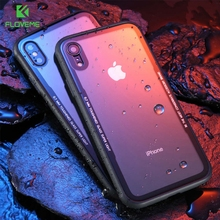 FLOVEME Tempered Glass Case For iPhone 7 X XR XS Max 6 6S 8 Plus Transparent Mobile Cellphone Cover Plain Capa