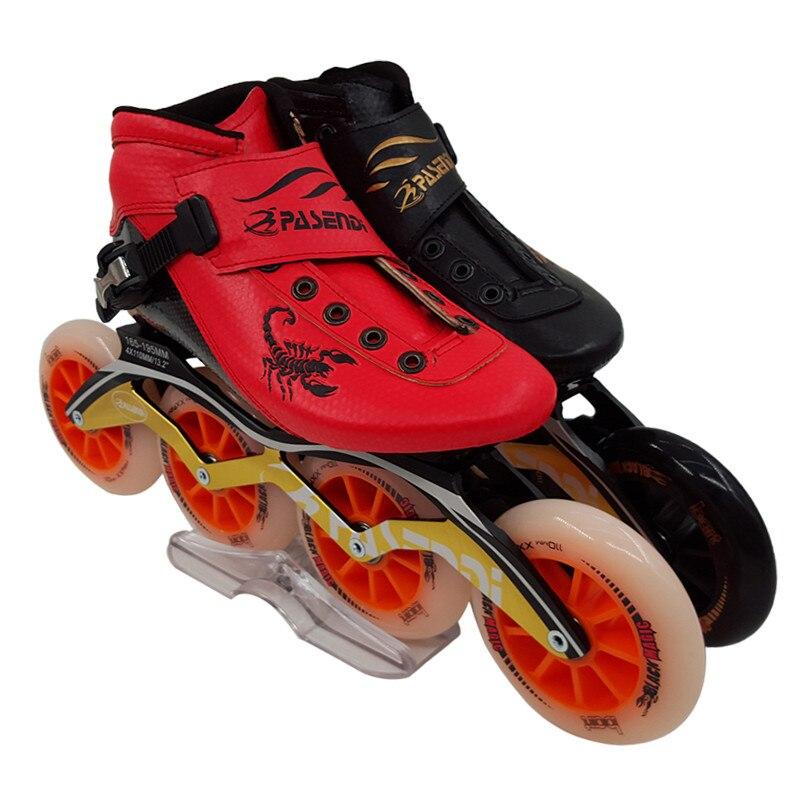 Prix pour Pasendi inline chaussures de patinage de vitesse Professionnel hommes femmes patins à roues alignées Patins De Patins À Roulettes Adultes Patin de Vitesse en ligne