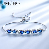 UMCHO Solid Real Sterling Silver 925 Bracelets & Bangles Free expansion Triangle Created Blue Sapphire Bracelets For Women Gifts
