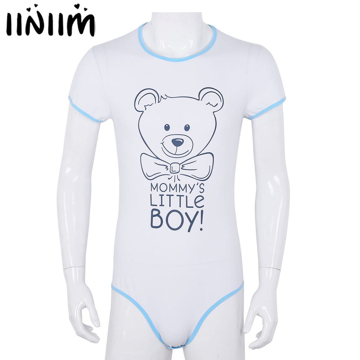 Male Mens Adult Baby & Diaper Lover Lingerie Bodystocking Snap Crotch Front Printed Sissy Gay Male Bodysuit Romper Pajamas