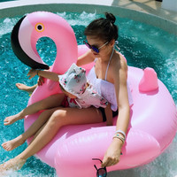 Pink Inflatable Flamingo Giant Swan Ride On Pool Toy Float Swim Ring Holiday Beach Island Water Fun Party Toys