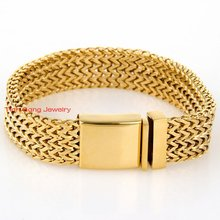 Hot Selling Fashion 4lows Square Chain Link Bracelet 100% 316L Stainless Steel Jewelry Silver Gold Choose 20mm 8.46″