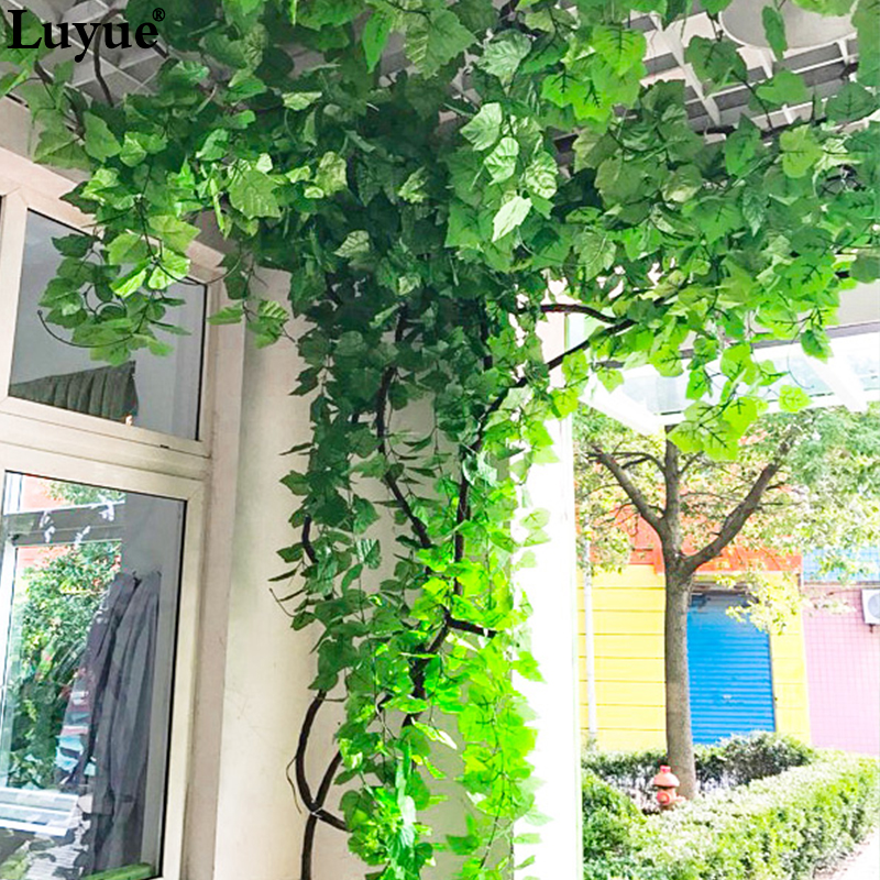 Luyue 230CM 7.5 Ft Long Artificial Plants Green Ivy Leaves Artificial Grape Vine Fake Foliage Leaves Home Wedding Decorati