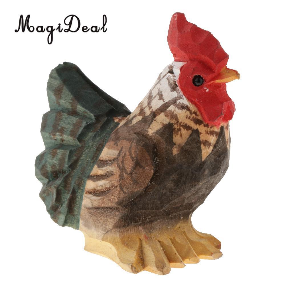 Hen Chicken Ornament Bird Figurine Garden Statue Sculpture Brown