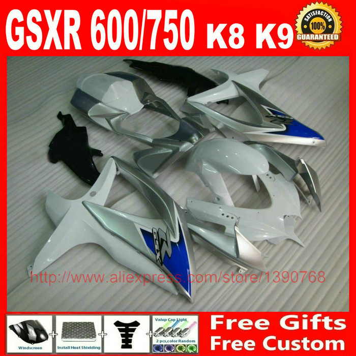 ABS Fairings set for Suzuki gsxr 600 GSXR750 08 09 10 white silver blue fairing kit K8 GSXR 600 750 2008 2009 2010 DV37 motorcycle fairing kit for suzuki gsxr1000 07 08 gsxr 1000 k7 2007 2008 gsxr1000 abs white blue fairings set 7gifts ss01