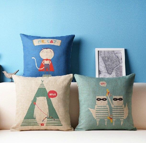 Childlike Cute Animals Cartoon Cushion  Linen Pillow Cotton Cushion  Home Decorate Sofa Cushions 45*45cm 3PCS/LOT