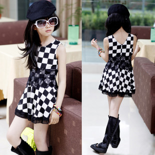 Summer Casual Cotton girl dress Sleeveless baby girls clothes Black &white squares girl dresses Girls Clothing kids clothes baby girl summer dress children res minnie mouse sleeveless clothes kids casual cotton casual clothing princess girls dresses