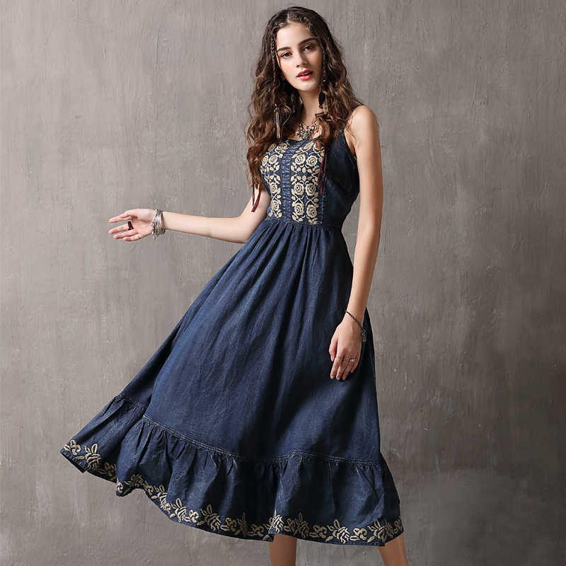 bda1e7a900 Detail Feedback Questions about Women Dress 2018 Keer Boho Cotton Embroidery  Dresses Slash Neck Spaghetti Strap Vestidos A82099 Vintage Denim Vestido ...