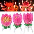 1 Unid Magia Musical Lotus Flower Luces de Velas de Llama Torta del Feliz Cumpleaños Lámpara de la Fiesta de Regalo Sorpresa Rotación Abierta Decoración de Loto