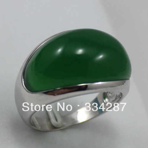 ประเสริฐ!เครื่องประดับเงินแหวนสีเขียวเข้มJadesผู้ชายแหวนขนาด9-11