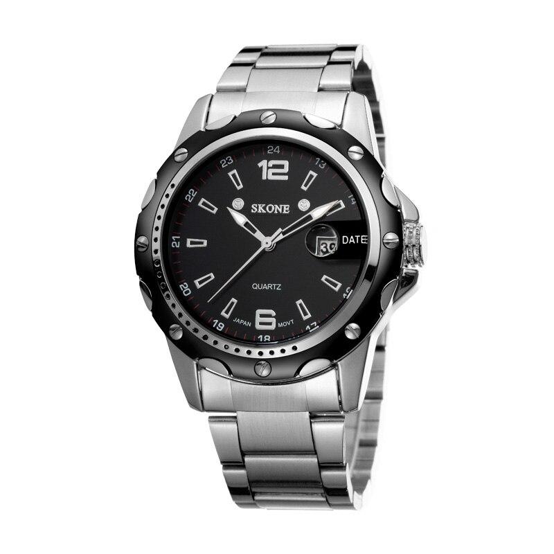 Top Luxury Brand SKONE Men Full Stainless Steel Business Watches Mens Quartz Date Clock Men Wrist Watch relogio masculino 7147g