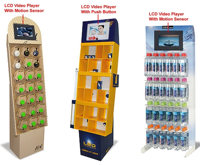 Supermarket POP Display With TV Monitor Cosmetics Retail Displays With Lcd Screen Electronic Consumer Machine