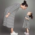 Мать дочь полосатый платья мама и я одежда семья посмотрите девушка и мать милый карман плюс размер платья для девочек женщины