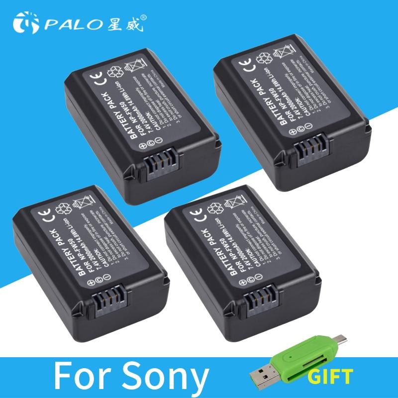4pcs NP-FW50 NP FW50 2000mAh Rechargeable Battery Digital battery for Sony A6000 a3000 a7s II alpha 55 alpha 7 A72 A7R Nex7 NE