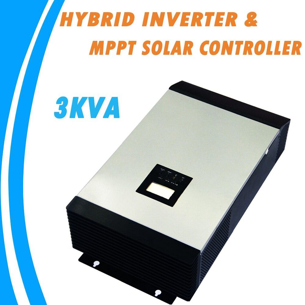 3KVA Pur Onde sinusoïdale Onduleur Hybride 24 V 220 V Intégré 25A MPPT PV Contrôleur de Charge et AC Chargeur pour usage domestique MPS-3K