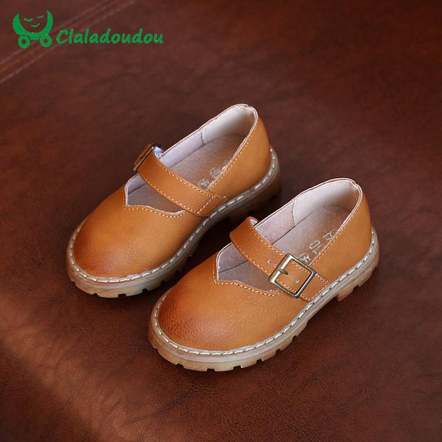 Claladoudou meninas shoes moda couro retro shoes crianças menina mary jane shoes black brown cinza crianças festa de casamento shoes