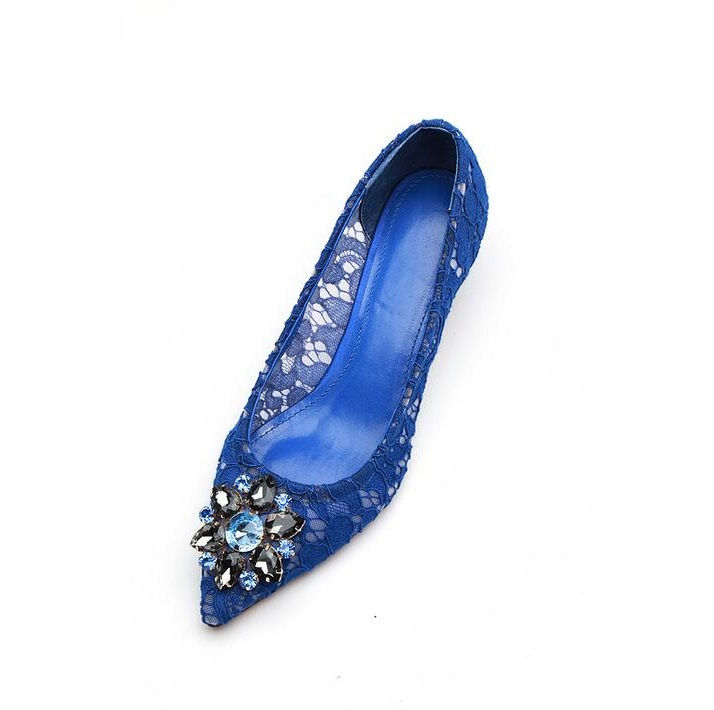 Blue Lace Shoes Woman Heels Crystal Pointed Toe Stiletto High Heels Wedding Shoes Kitten Heels Sexy High Heel Shoes Green Pink creativesugar see through lace sequins high heel pointed toe woman shoes wedding party cocktail night club sky blue gold red