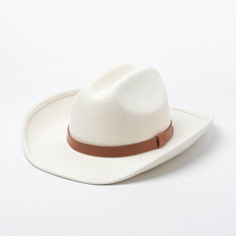 01907-HH8150 classique haut de gamme blanc laine ceinture fedoras chapeau en plein air hommes femmes loisirs panama jazz cap