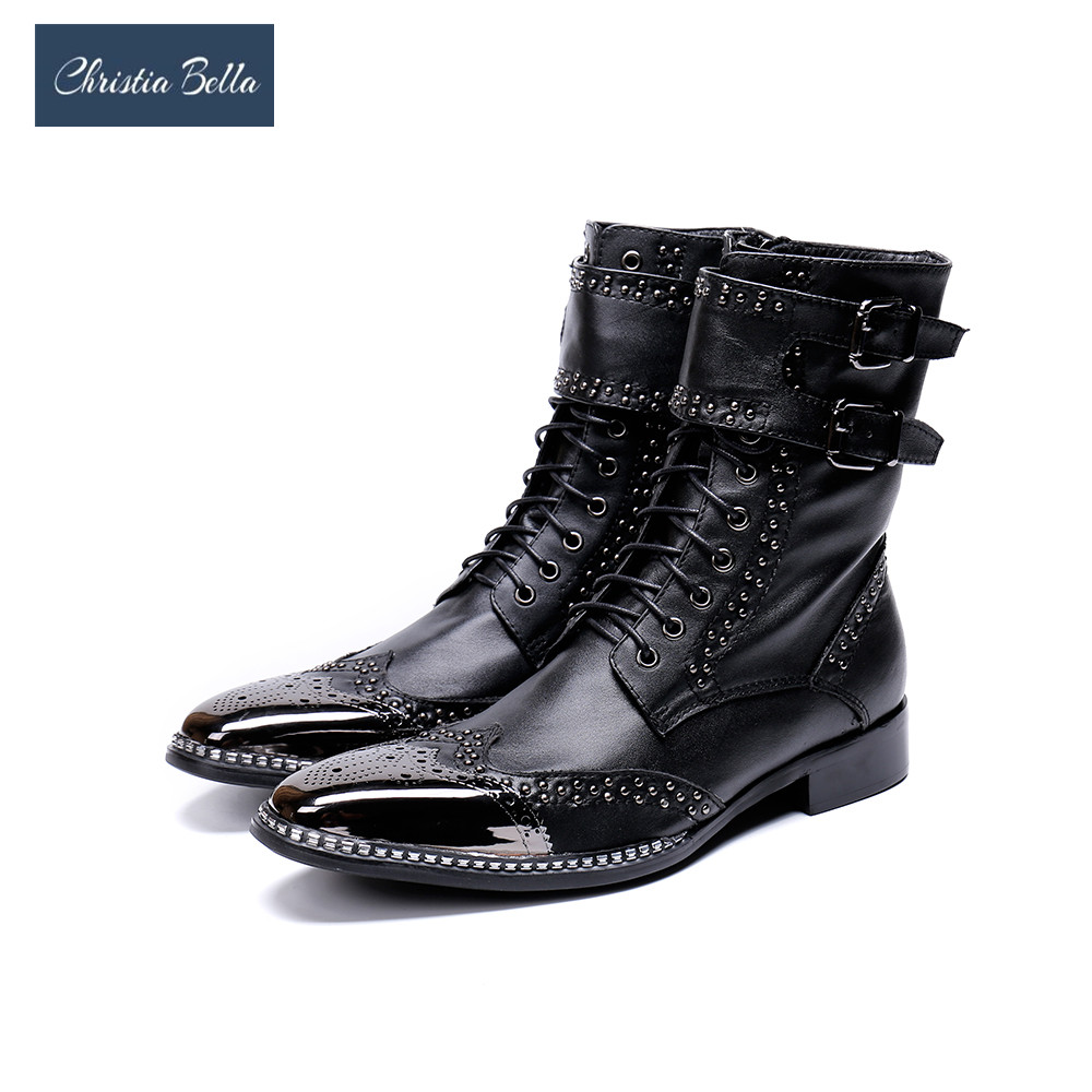 цены Christia Bella Brand New Men Shoes Pointed Metal Tip Knight Boot Men zapatos de hombre Black Genuine Leather Combat Boots Men