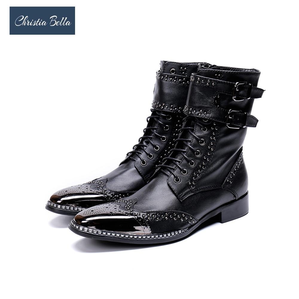 Bella Cuero Hombre Genuino Metal Negro Caballero De Nueva Los Marca Botas Punta Christia Combate Zapatos Hombres dPaxvdw7