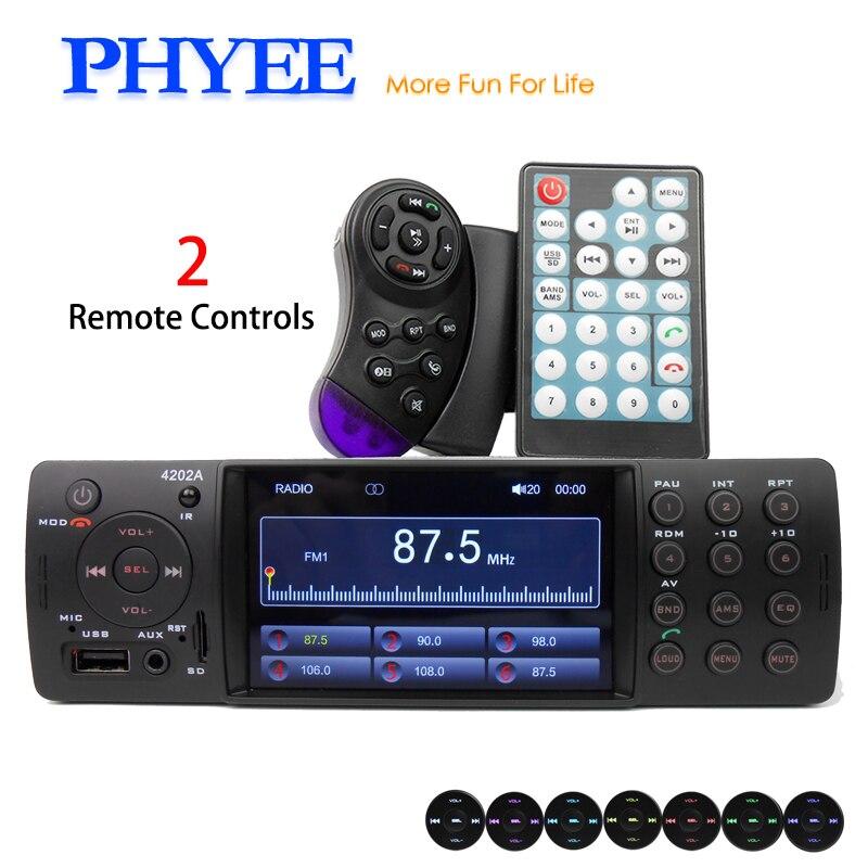 1 Din Car Stereo 4 Inch Auto Radio Bluetooth Autoradio USB SD Aux FM Receiver A2DP 7 Colors Lighting Indash PHYEE VX-4202ABT 2pcs yaesu fnb 80li lithium ion battery for yaesu vx7r vx 5 vx 5r vx 5r vx 6r vx 6e vx 7r vxa 700 vxa 7 radio 1500mah
