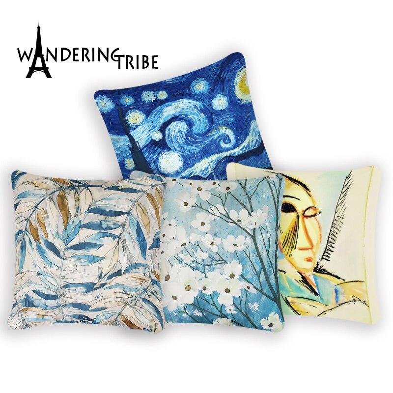 Van Gogh Decorative Pillows Famous Oil Painting Cushion Cover Polyester Print Sofa Home Bed Car Decor Pillowcase Funda Cojin