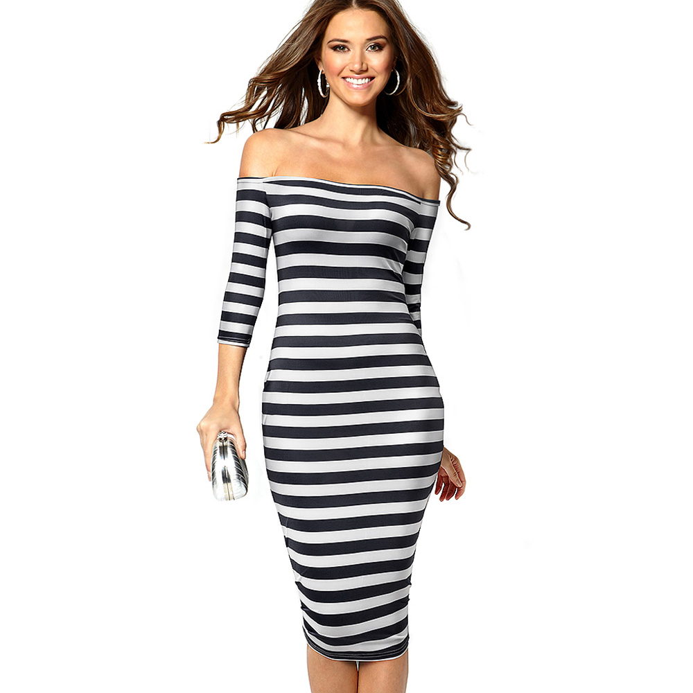 Nice-forever Causal Contrast color Patchwork Stripes vestidos Off Shoulder Bodycon Business Party Sheath Women Dress bty703