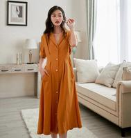 2019 new fashion women's dresses Summer yellow vintage suit collar dress with long decorative buttons