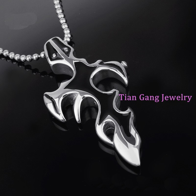 Fashion Men Infinity Silver Black Burning flame Stainless Steel Pendant Necklace For Women Mens Christmas Gift