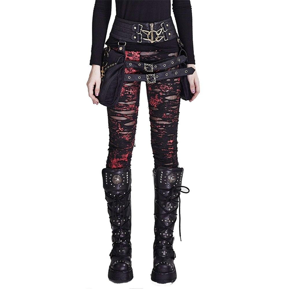Punk Gothic Adult New Autumn&Winter High Elastic Motocross Crocheted Women Street Sexy   Leggings