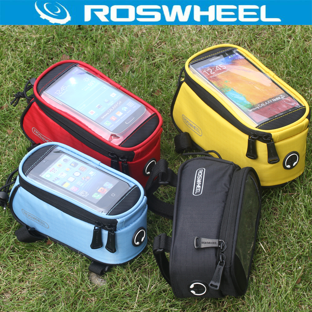 Roswheel Mountain Road Bike Touch Screen Bicycle Bag Pouch Cycling Front Frame Tube Bag Pannier For 4.7'' 4.8 5.5 Phone bicycle touch screen tube bag bike cycling touch screen mobile phone bag pannier bag