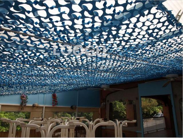 3 M * 3 M rede de camuflagem filet telhado rede pérgulas de compensação compensação azul camo Compensação para varanda gazebo tenda toldo toldo