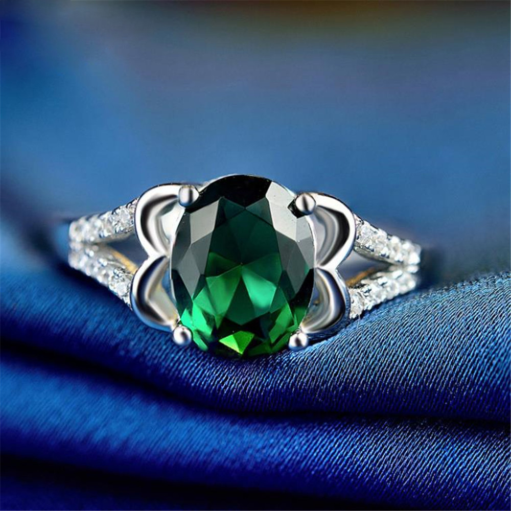2019 YKNRBPH S925 Sterling Silver Ring Ladie's Korean Jewelry Green Diamond Ring Personalized Wedding Ring Silver Fine Jewelry