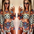 2016 Sexy Women Fashion Full Sleeve Flower Printing Jumpsuits Hollow Out Casual Jumpsuit Playsuit