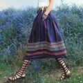 Aporia. Como mulheres verão tendência nacional Mori Hippie menina Exotic imprimir único Breasted Casual Cotton Linen boemia saia longa