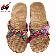 2017 Fashion Flax Home Slippers Indoor Floor Shoes Cross Belt Silent Sweat Slippers For Summer Women Sandals(China)