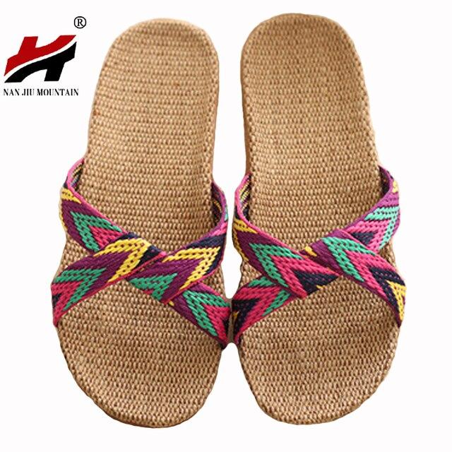 2017 Мода Льна Домашние Тапочки Закрытый Этаж Обувь Крест Пояса Бесшумный Пот Тапочки Для Лета Женщин Сандалии