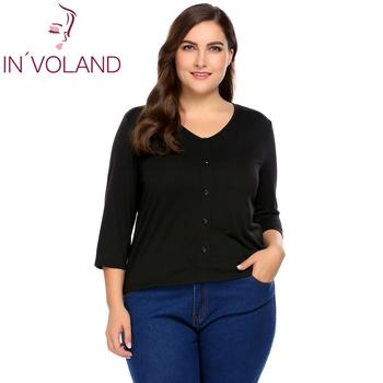 650ffec65e859 IN VOLAND Women T-Shirt Tops Plus Size XL-5XL Spring Autumn Casual V-Neck  3 4 Sleeve Solid Tees Tshirt Pullovers Big Size