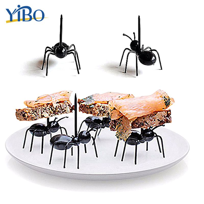 YIBO 12Pcs/Set Mini Ant Plastic Fruit Forks for Kids Party Food Picks Reusable Kawaii Tableware kitchen Cake Snacks Dessert Fork