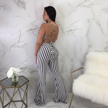 2019 Women Summer Bandage Slim Striped Jumpsuits Sexy Sleeveless Off Shoulder Flared Rompers Clubwear Playsuit Overall