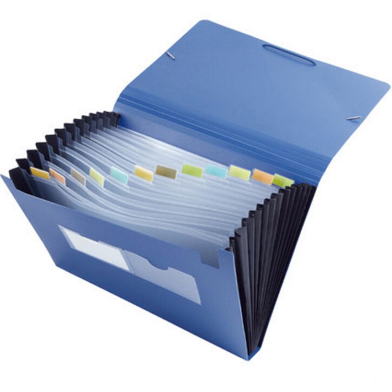 Office School Supplies Organ Bag Easy Classification Expanding Wallet File Package Folder Elastic Band A4 Size Document Sorting mini expanding wallet invoice bill filing bag 12 layers document file folder elastic band plastic material