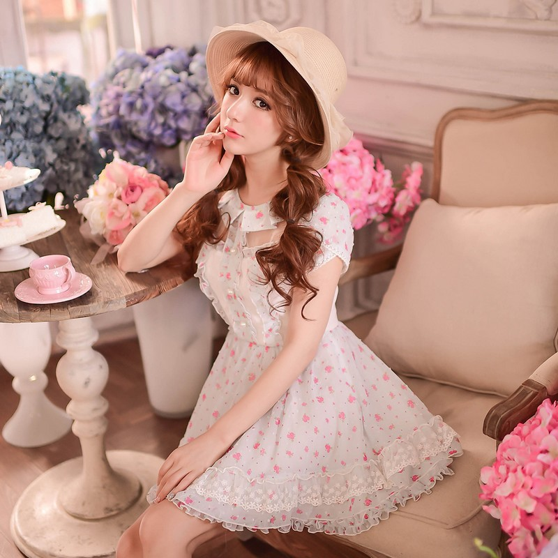 Princess sweet lolita dress Candy rain Summer Japanese style sweet floral Show thin chiffon princess dress C15AB5813