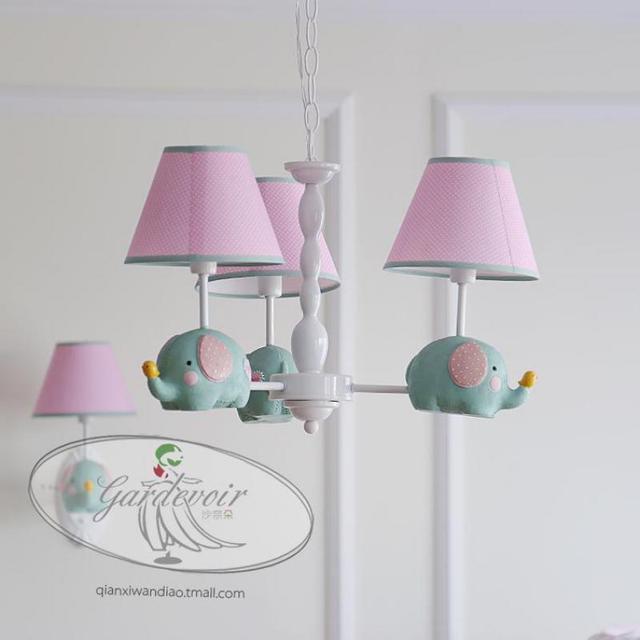 abat jour chambre enfant Chambre bébé enfants tissu rose abat-jour suspension 3 pièces lampe  éléphant princesse Mini Avize