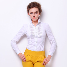 New Fashion Double-layer Pleat Full Sleeves Ladies OL Body Conjoined Shirt 2019 Women Slim Office Lady Causal Shirts Blouses
