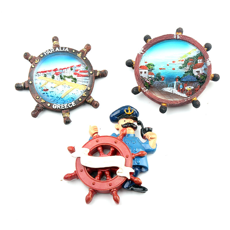 Resin 3D Fridge Magnet Anchor Design Souvenir 3PCS-in