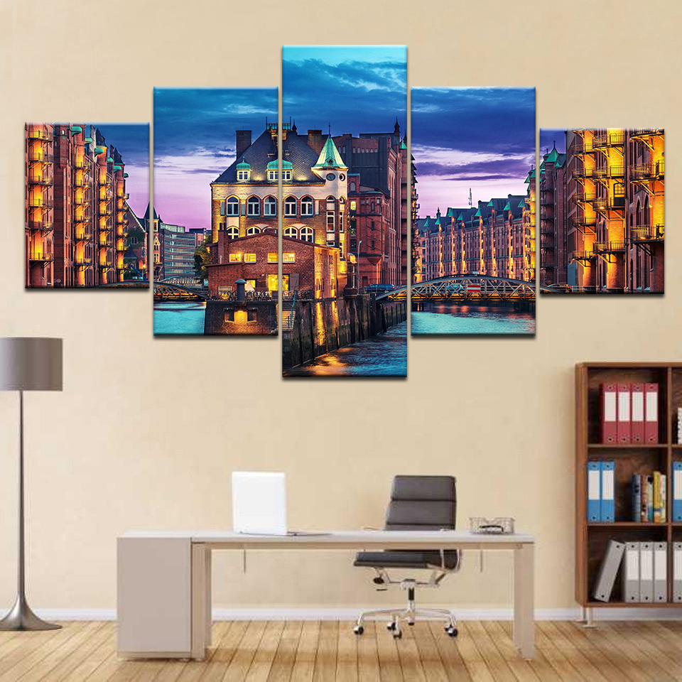 2017 Wall Art Canvas Painting Oil Painting 5pcs City Germany Hamburg Light Man Made Night Print Room Decor Picture Canvas