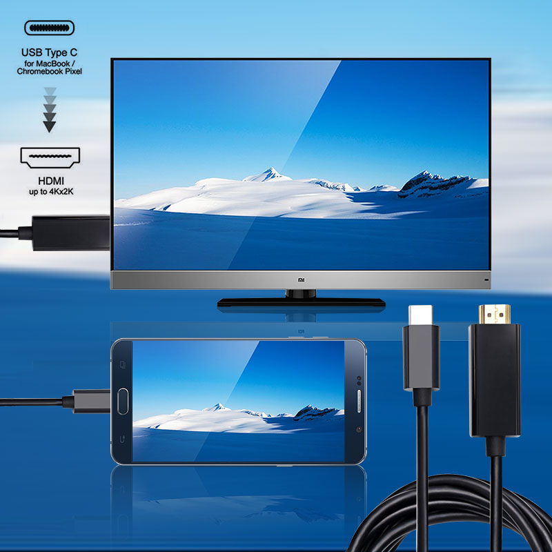Type C USB 3.1 To <font><b>HDMI</b></font> 4k 2k HDTV Cable USB-C Male Charging Cable Adapter For Galaxy S8 S8+ Plus Cell <font><b>Phone</b></font>