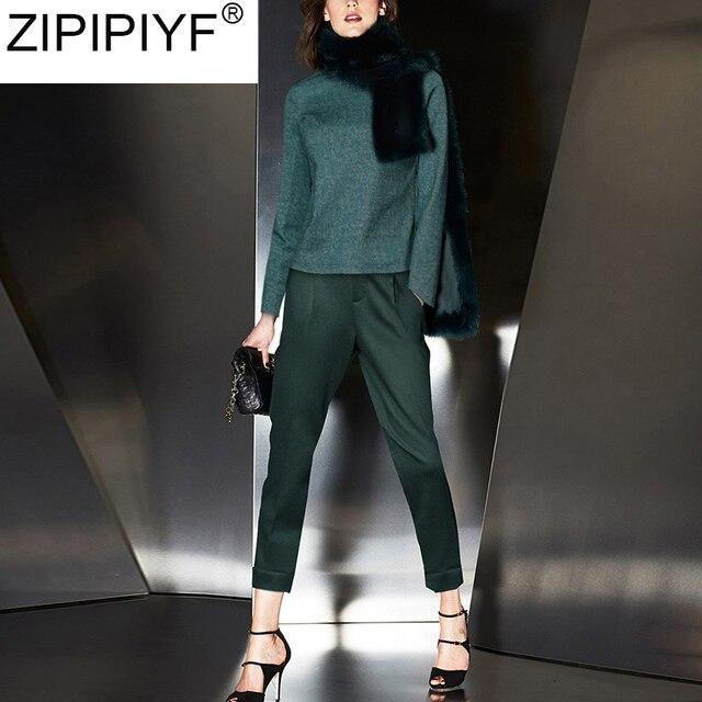 2018 Autumn Fashion Designer New Runway Suit Set 2 Piece Set Women Streetwear Casual O-Neck Long Sleeve Blouse+Pencil Pant C3280