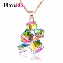 Uloveido Multicolor Geometric Necklaces & Pendants Rose Gold Color Necklace Women Pendant with Chain Jewelry Suspension GR125